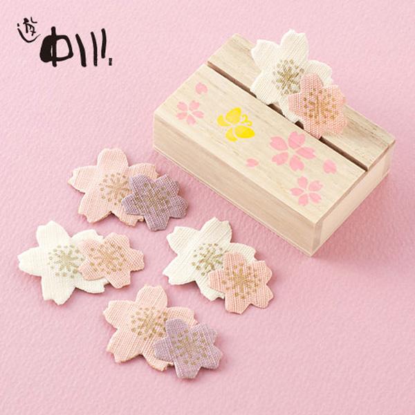 香りだけでなく見た目も雅な文香・匂い袋「遊中川 日本市 絵形香 桜重ね」